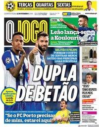 capa Jornal O Jogo de 22 novembro 2018