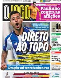 capa Jornal O Jogo de 26 novembro 2018