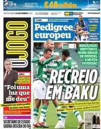 capa Jornal O Jogo de 30 novembro 2018