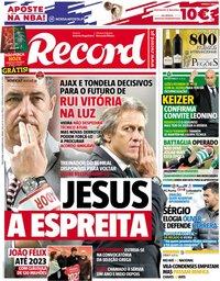 capa Jornal Record de 6 novembro 2018