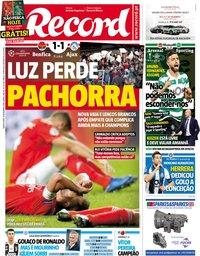 capa Jornal Record de 8 novembro 2018