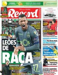capa Jornal Record de 9 novembro 2018