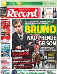 capa Jornal Record de 13 novembro 2018