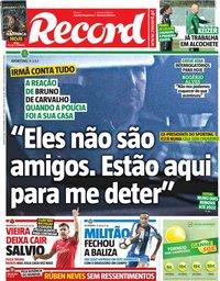 capa Jornal Record de 14 novembro 2018