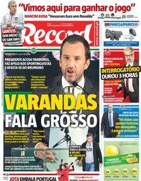 capa Jornal Record de 17 novembro 2018