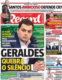 capa Jornal Record de 20 novembro 2018