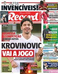 capa Jornal Record de 21 novembro 2018