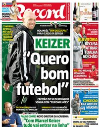 capa Jornal Record de 24 novembro 2018