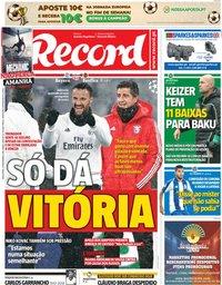 capa Jornal Record de 27 novembro 2018