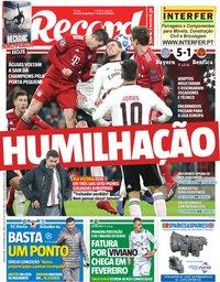 capa Jornal Record de 28 novembro 2018