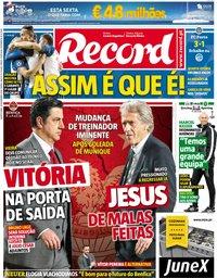 capa Jornal Record de 29 novembro 2018