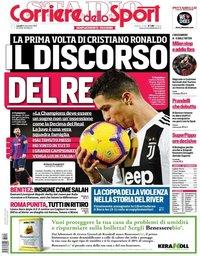 capa Corriere dello Sport de 10 dezembro 2018