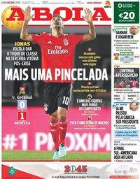 capa Jornal A Bola de 9 dezembro 2018