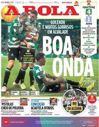 capa Jornal A Bola de 10 dezembro 2018