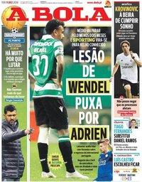 capa Jornal A Bola de 11 dezembro 2018