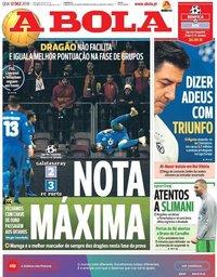capa Jornal A Bola de 12 dezembro 2018