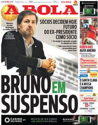 capa Jornal A Bola de 15 dezembro 2018
