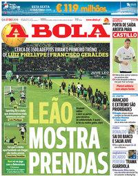 capa Jornal A Bola de 27 dezembro 2018