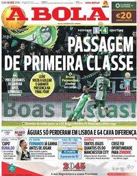 capa Jornal A Bola de 30 dezembro 2018