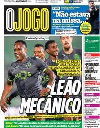 capa Jornal O Jogo de 4 dezembro 2018
