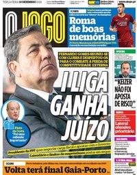 capa Jornal O Jogo de 18 dezembro 2018