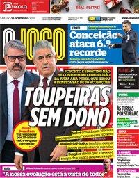 capa Jornal O Jogo de 22 dezembro 2018