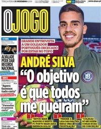 capa Jornal O Jogo de 25 dezembro 2018