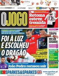 capa Jornal O Jogo de 29 dezembro 2018