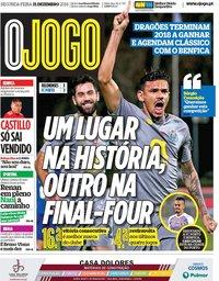 capa Jornal O Jogo de 31 dezembro 2018