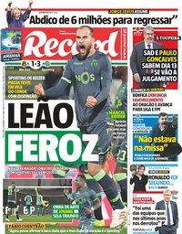 capa Jornal Record de 4 dezembro 2018