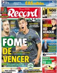 capa Jornal Record de 14 dezembro 2018