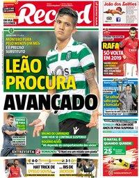 capa Jornal Record de 15 dezembro 2018