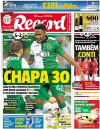 capa Jornal Record de 20 dezembro 2018