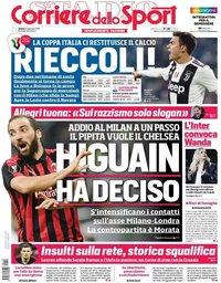 capa Corriere dello Sport de 12 janeiro 2019
