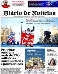 capa Diário de Notícias de 9 janeiro 2019