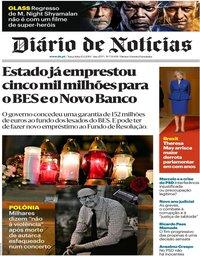 capa Diário de Notícias de 15 janeiro 2019