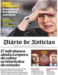 capa Diário de Notícias de 16 janeiro 2019