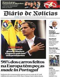 capa Diário de Notícias de 24 janeiro 2019