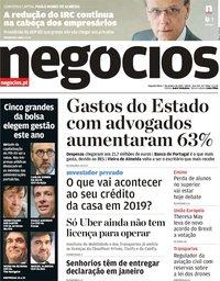capa Jornal de Negócios de 7 janeiro 2019