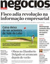 capa Jornal de Negócios de 9 janeiro 2019