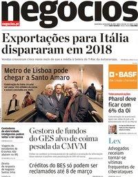 capa Jornal de Negócios de 10 janeiro 2019