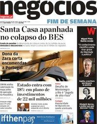 capa Jornal de Negócios de 11 janeiro 2019