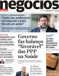 capa Jornal de Negócios de 14 janeiro 2019