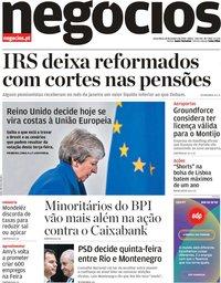 capa Jornal de Negócios de 15 janeiro 2019