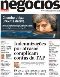 capa Jornal de Negócios de 16 janeiro 2019