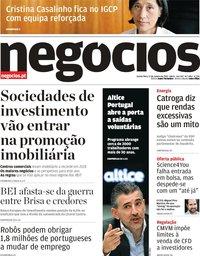 capa Jornal de Negócios de 17 janeiro 2019
