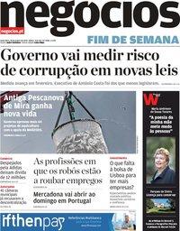 capa Jornal de Negócios de 18 janeiro 2019