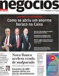 capa Jornal de Negócios de 22 janeiro 2019