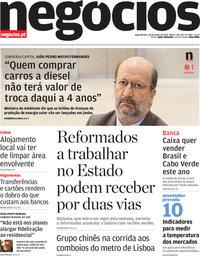 capa Jornal de Negócios de 28 janeiro 2019