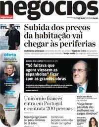 capa Jornal de Negócios de 31 janeiro 2019